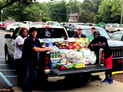 The flood relief efforts were made possible thanks to Pi Kapp, Pike and Sigma Nu. Photo courtesy of Blake Roberts.