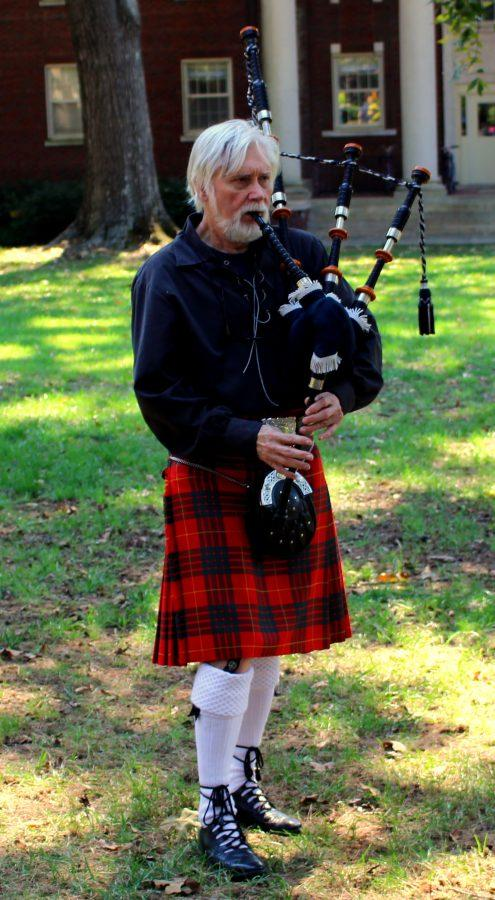 Mr. Gary Hipp, PC's master piper, plays the bagpipes at Scotoberfest.