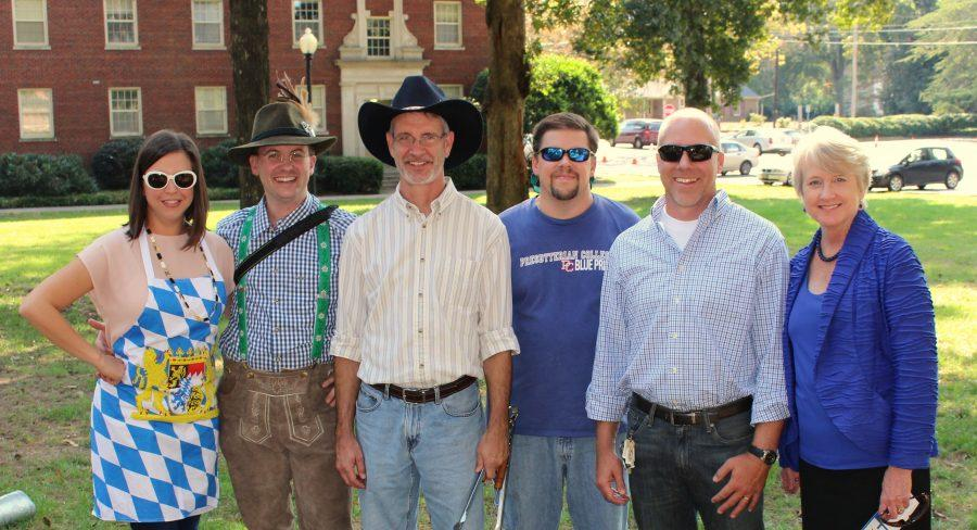 Dr. Sumner, Dr. Wiecki, Dr. Heiser, Dr. Nelson, Dr. Campbell, and Dr. Gustafson of the History Department hosted Scotoberfest.