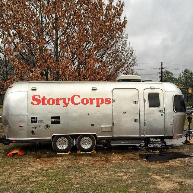 Photo of a StoryCorps mobile bus