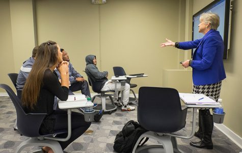 Photo of Dr. Anita Gustafson lecturing a class.