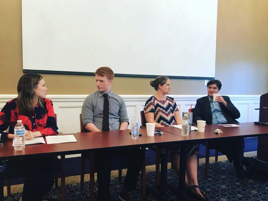 Panelists from left to right: Olivia Aldridge, Cooper McKim, Dr. Sarah Burns, and Dr. Brandon Inabinet.