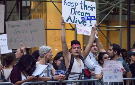 DACA supporters protest Session's announcement in front of Trump Tower on September 5.