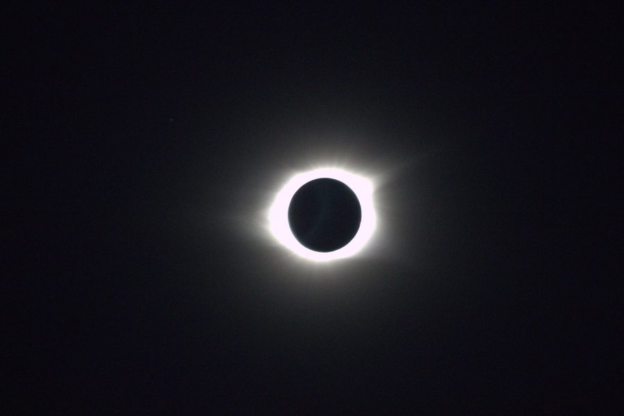Total eclipse of the sun as seen from the fountain plaza on August 21. Photograph by Alex Barrus