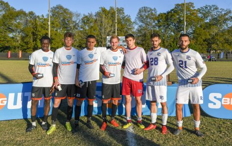 Big-South All-Tournament Players, after Sunday's Final. PC players pictured on the right include (from right to left) Jan Hoffelner, Marcos Kitromilides and Victor Menudier