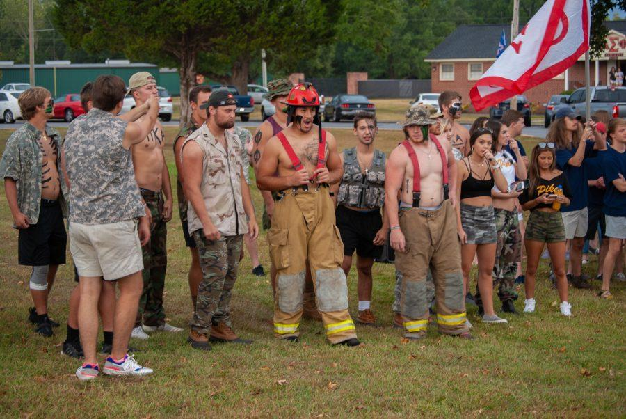 Pi Kappa Alpha pledges show their fraternity spirit.