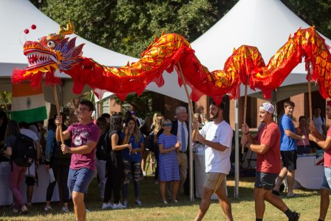 A traditional Chinese dragon dance.