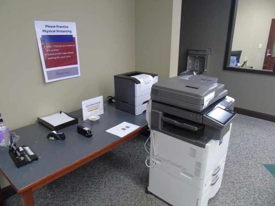 The current printing station at the Thomason Library.