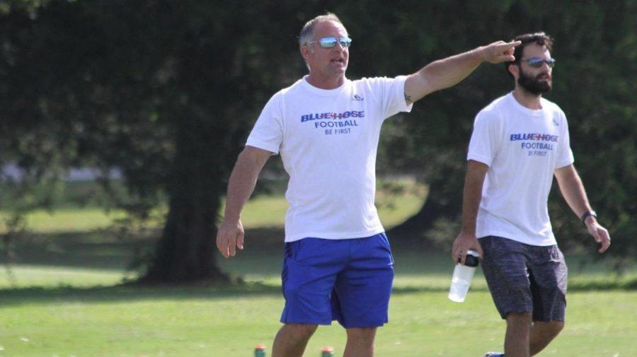 Blue Hose football coach Kevin Kelley at practice. © PC Athletics.