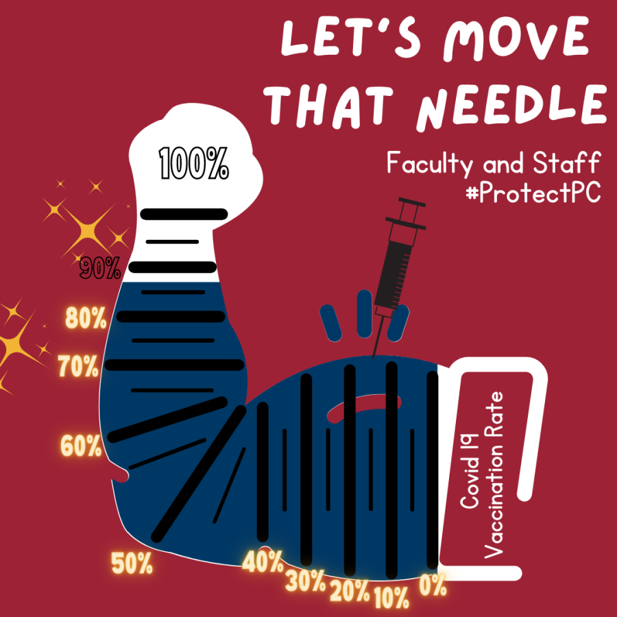 """Taylor Dement's """"Move that Needle"""" graphic incentivizing vaccination in student body."""